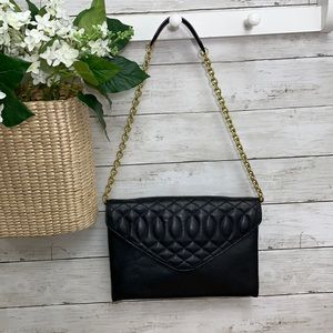 J. Crew Black Quilted Leather Chain Shoulder Bag